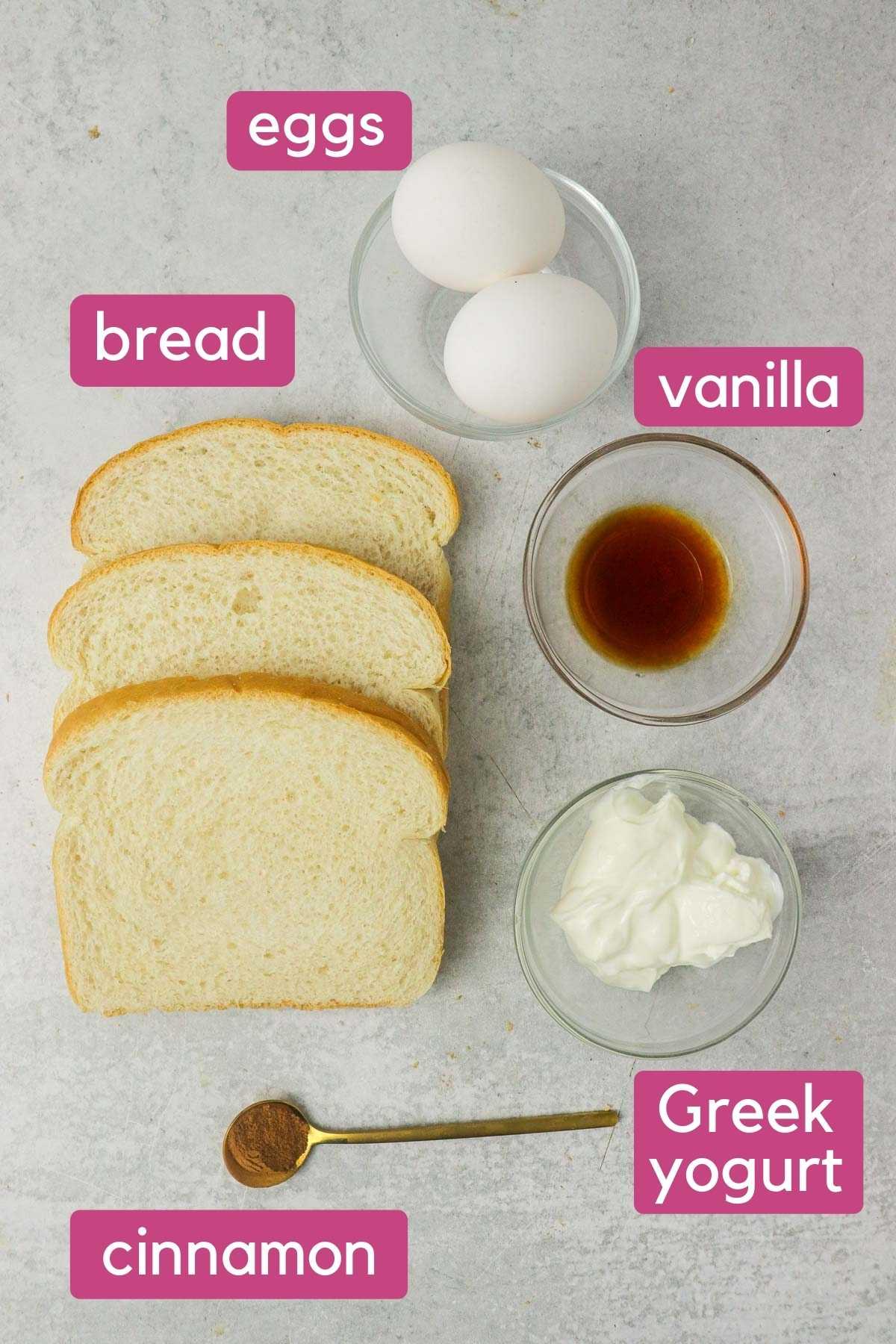 Air Fryer French Toast Sticks Ingredients.