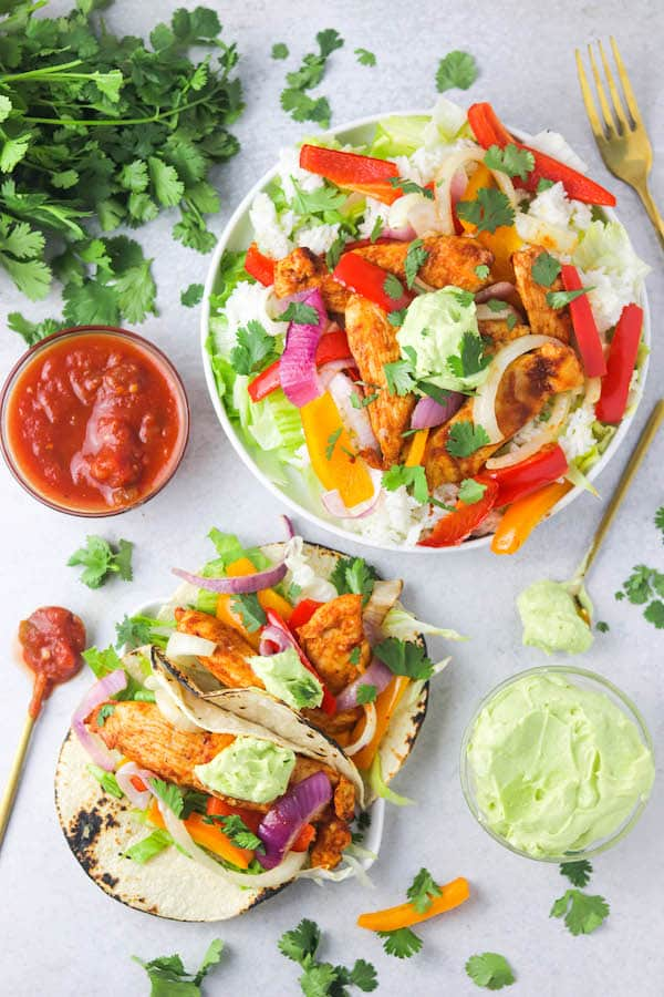 chicken fajita tacos + salads