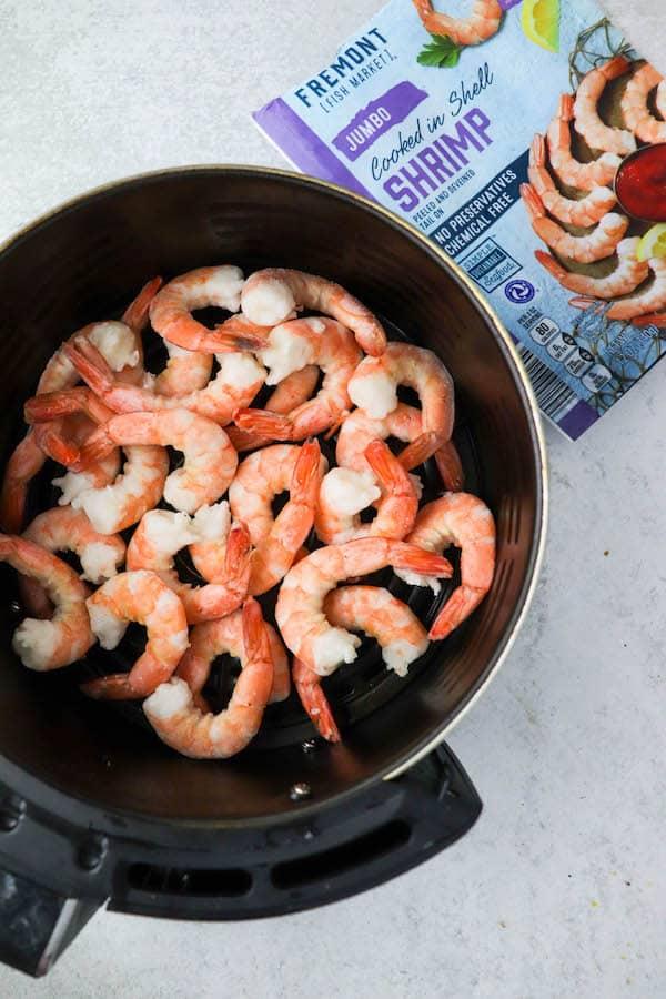 cooked air fryer frozen shrimp in basket