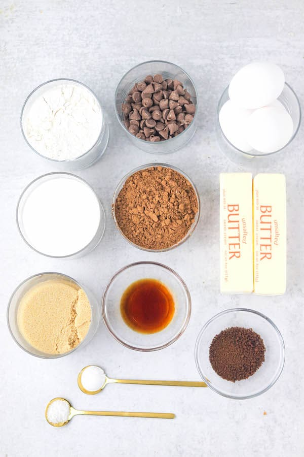 ingredients for bakery brownies