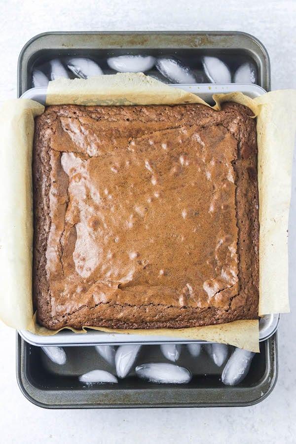 ice bath for bakery brownies