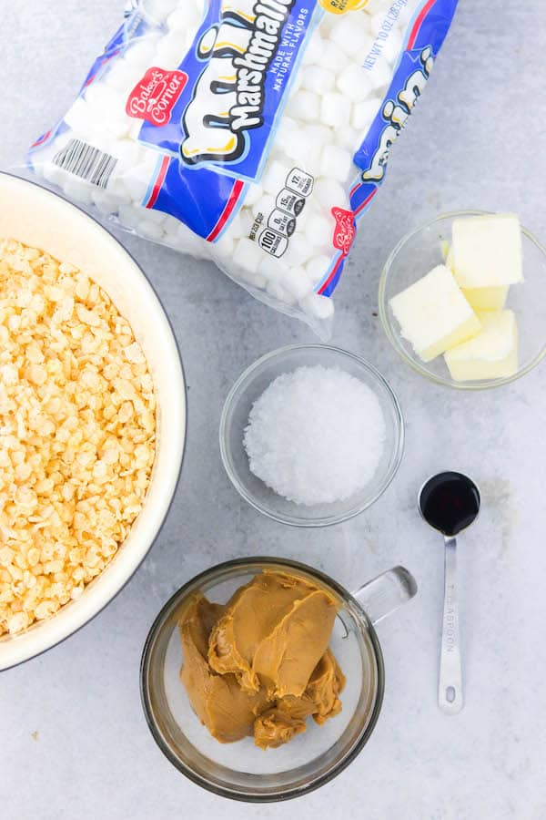ingredients for salted peanut butter rice krispie bars