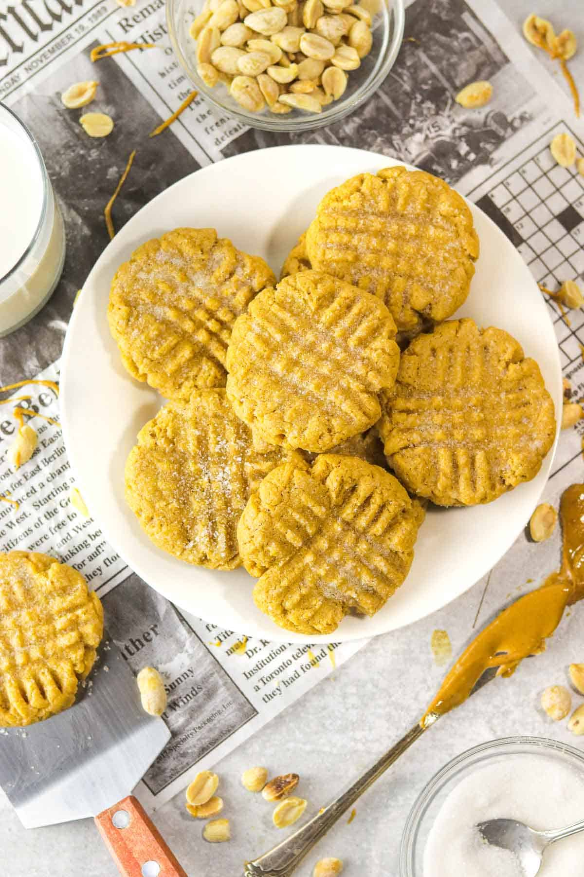 small batch peanut butter cookies on a plate.