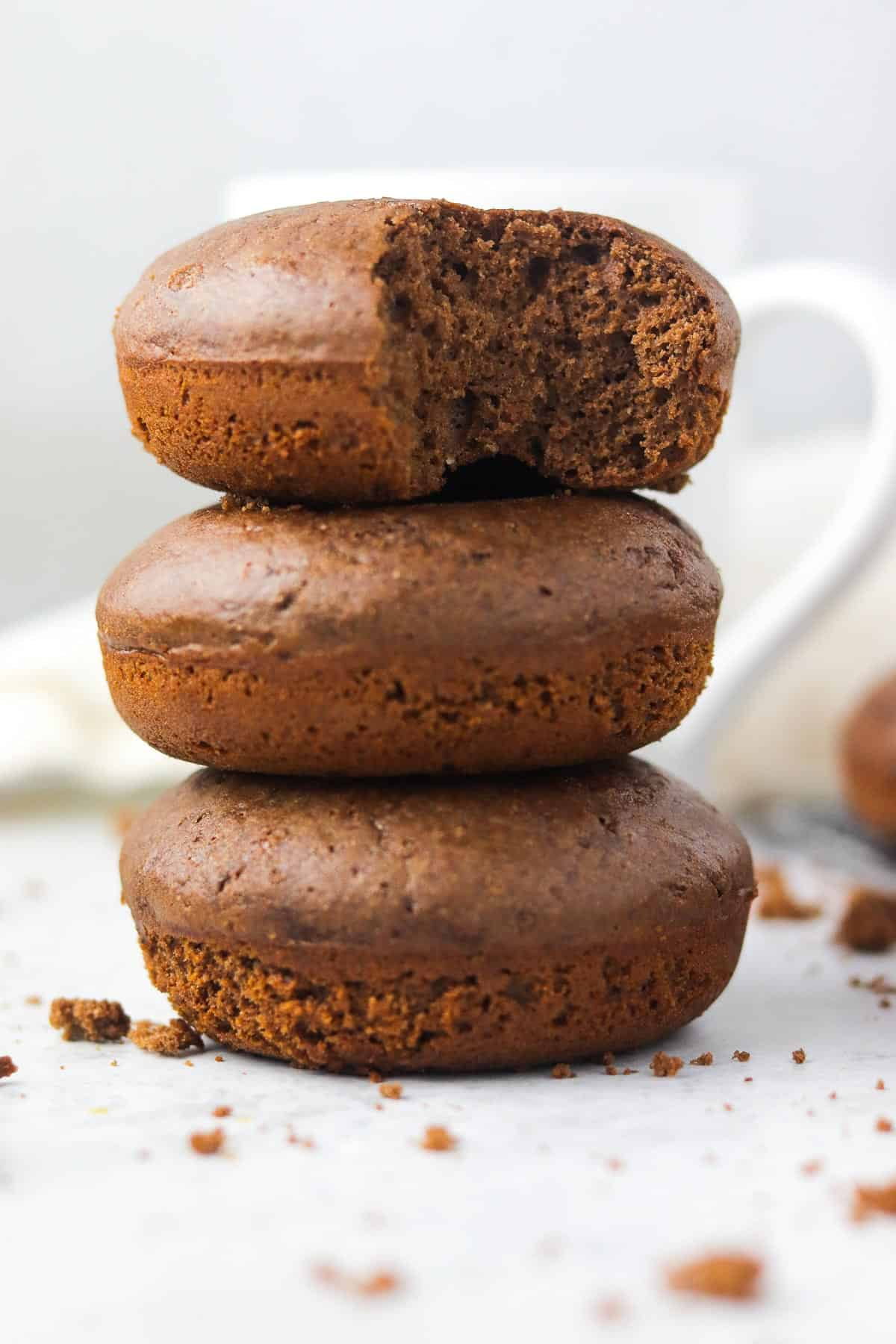 stack of chocolate protein donuts.