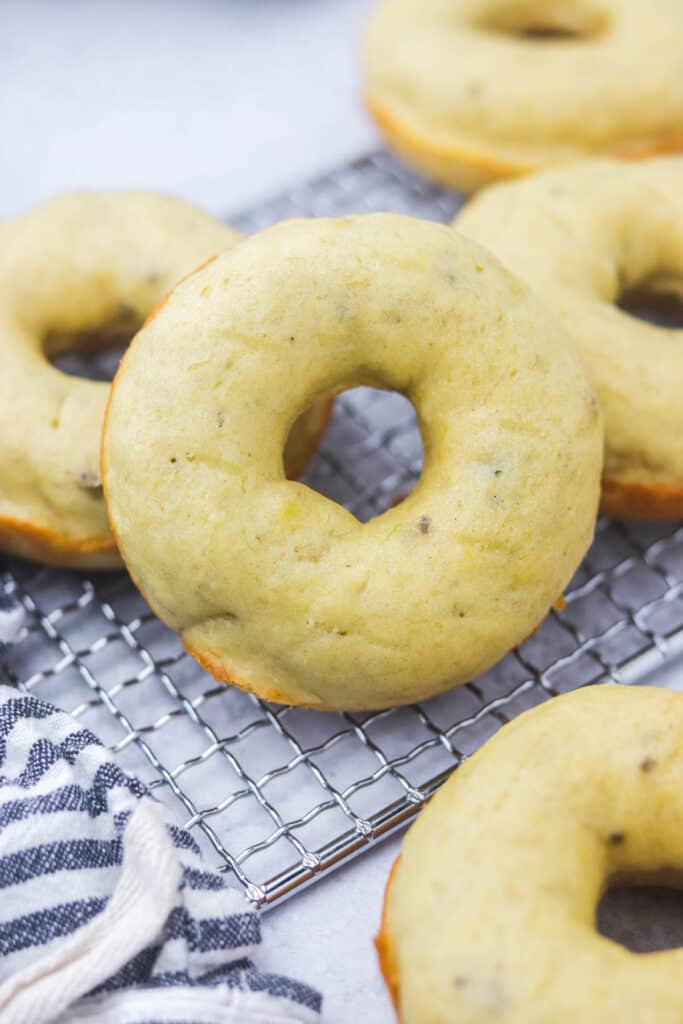 freshly baked banana donuts