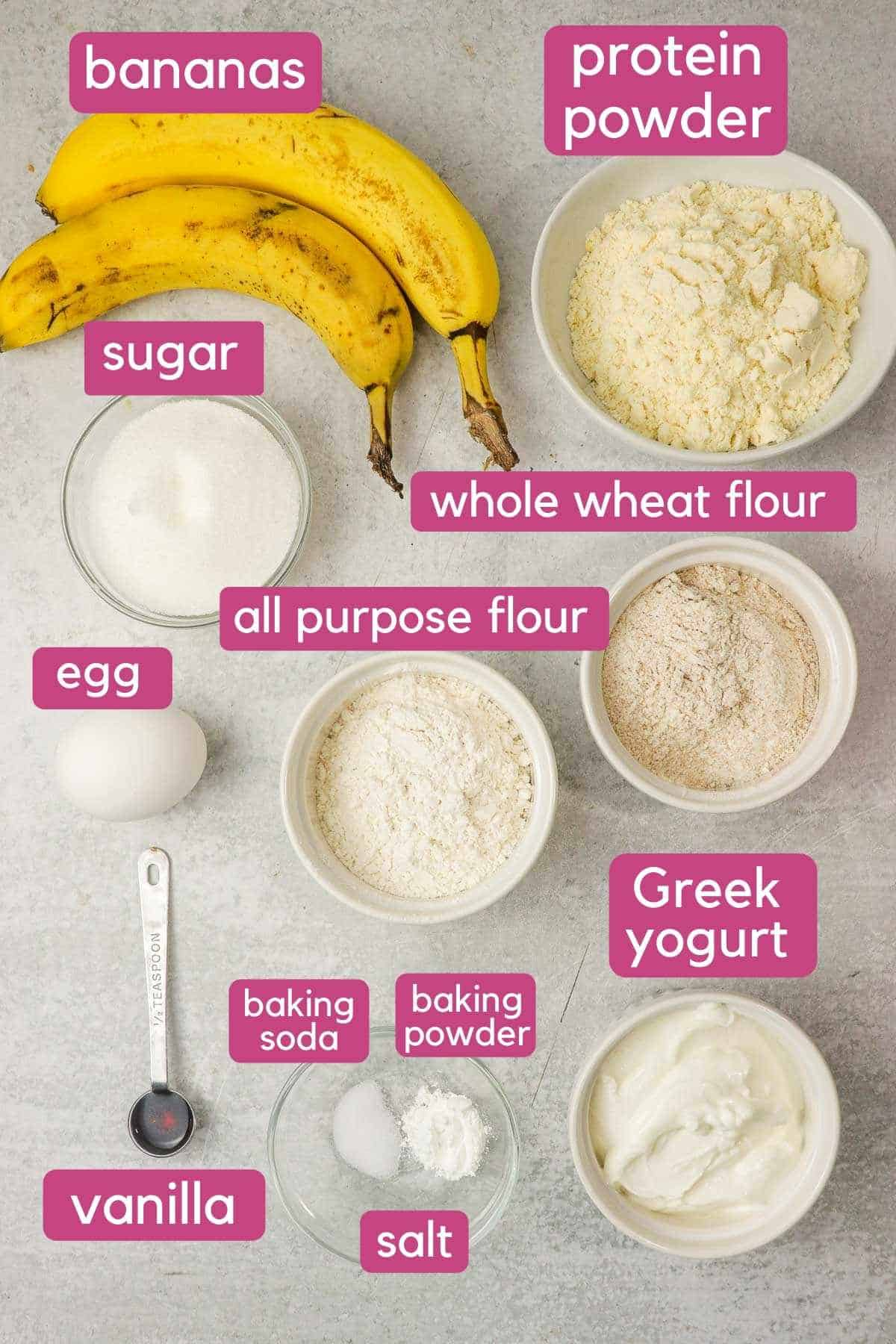 Banana protein muffin ingredients