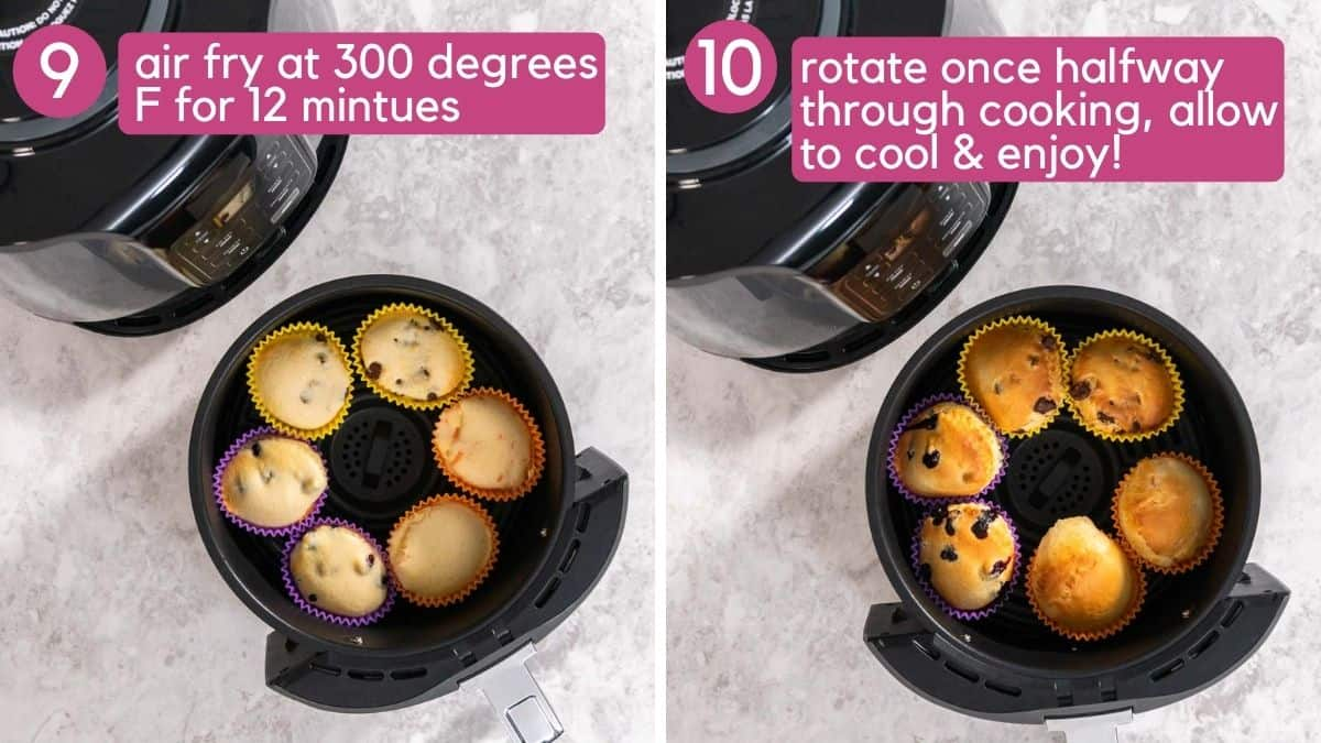 How to bake muffins in the air fryer at 300 degrees.