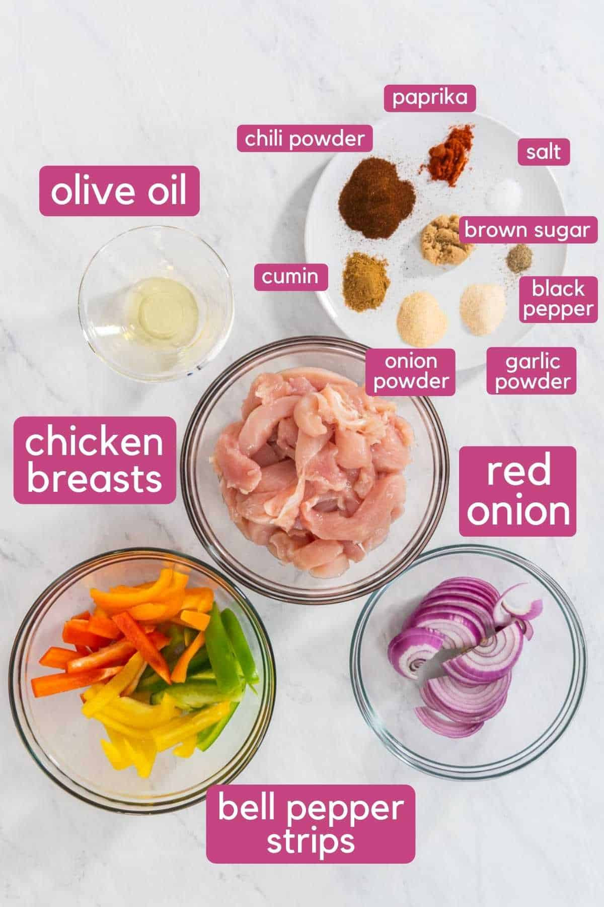 Ingredients needed to make chicken fajita tacos.