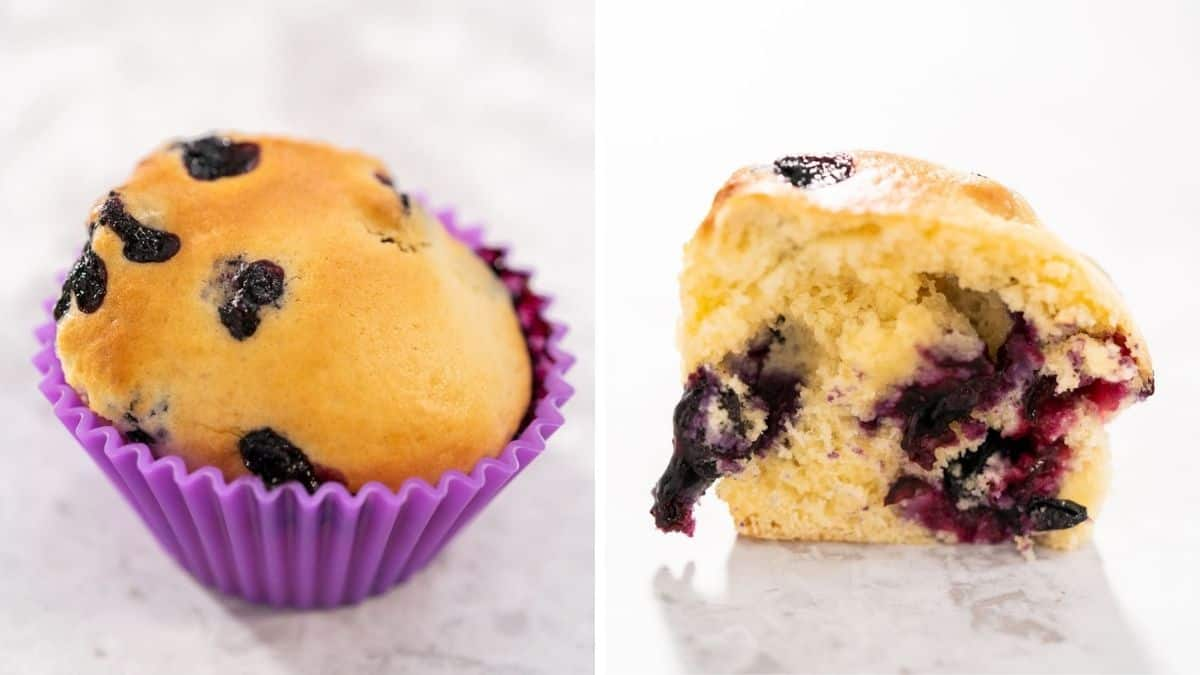 Outside and inside of a blueberry air fryer muffin side by side.