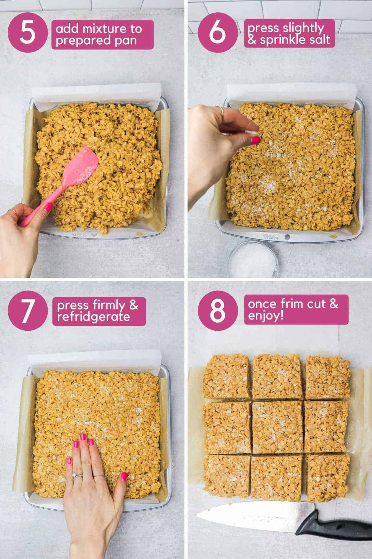 Pressing Peanut Butter Rice Krispie Bar into the pan