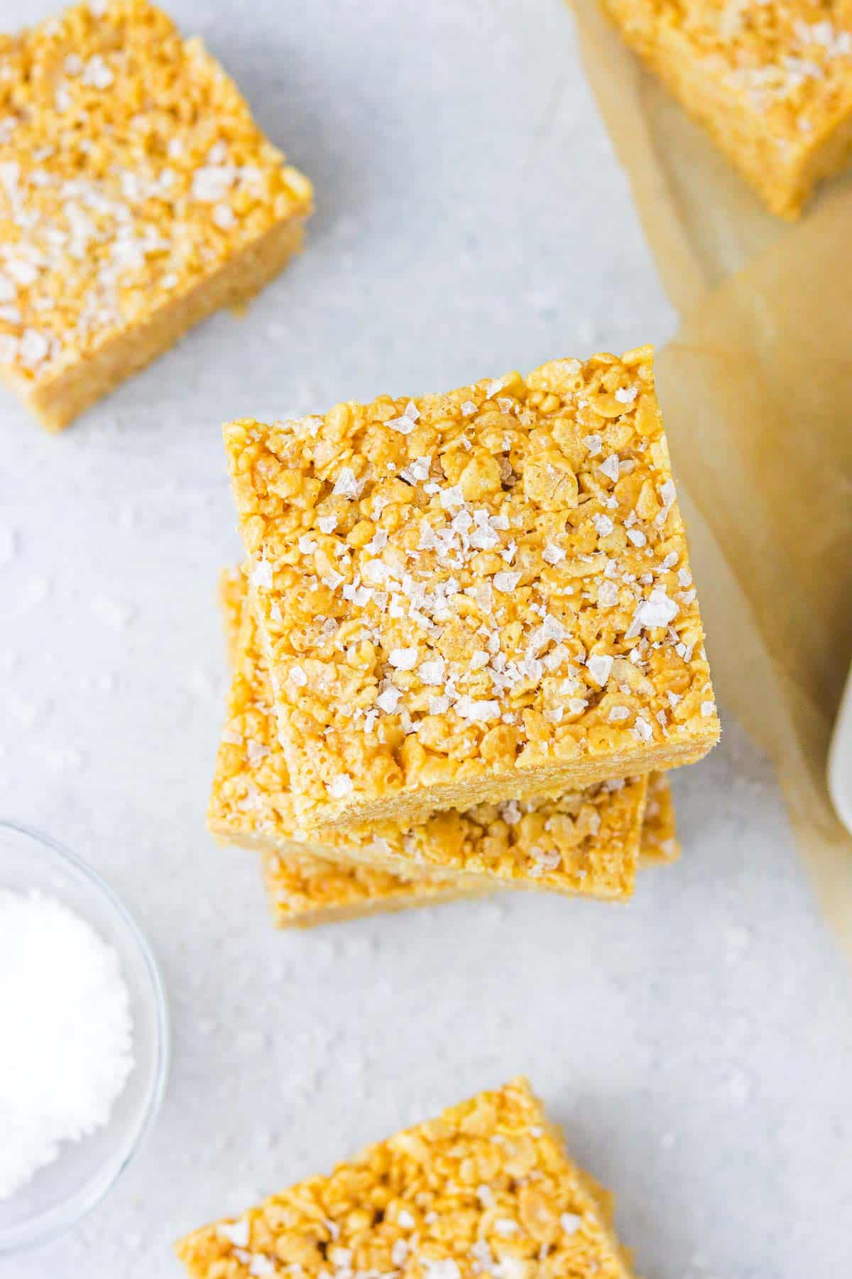 Top of a stack of Peanut butter rice krispie bars