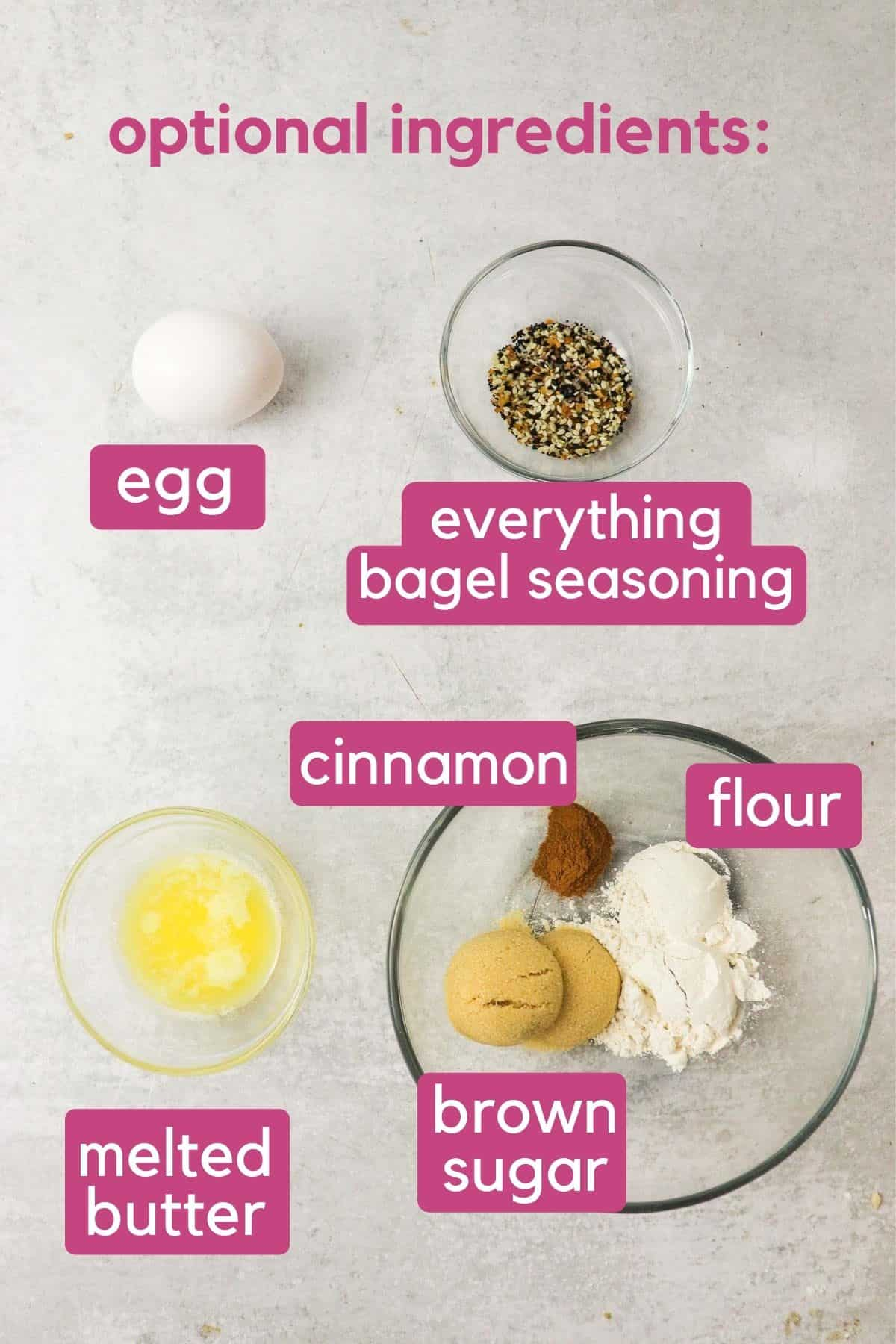 Toppings for 3 ingredient bagels.