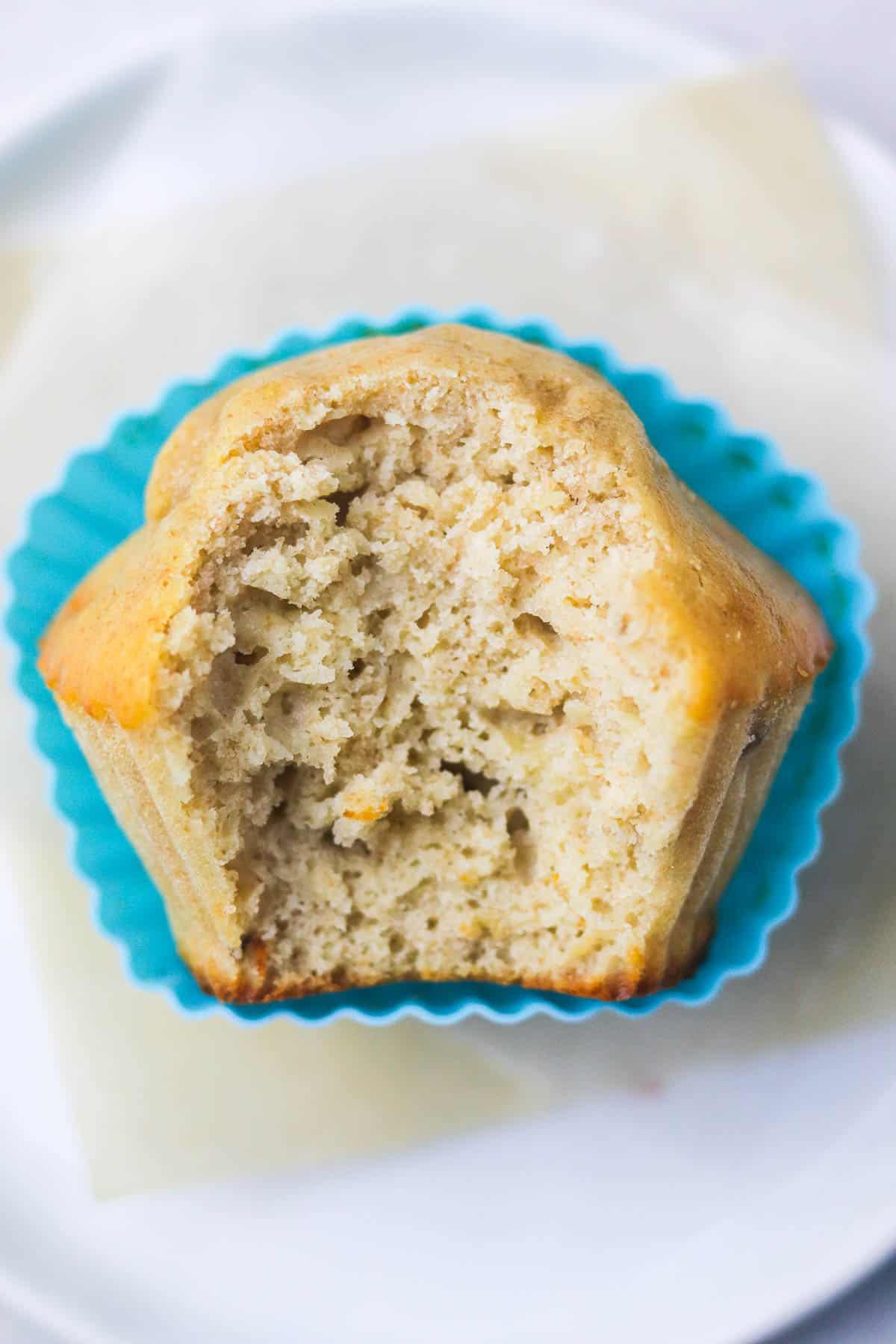 half eaten banana protein muffin.