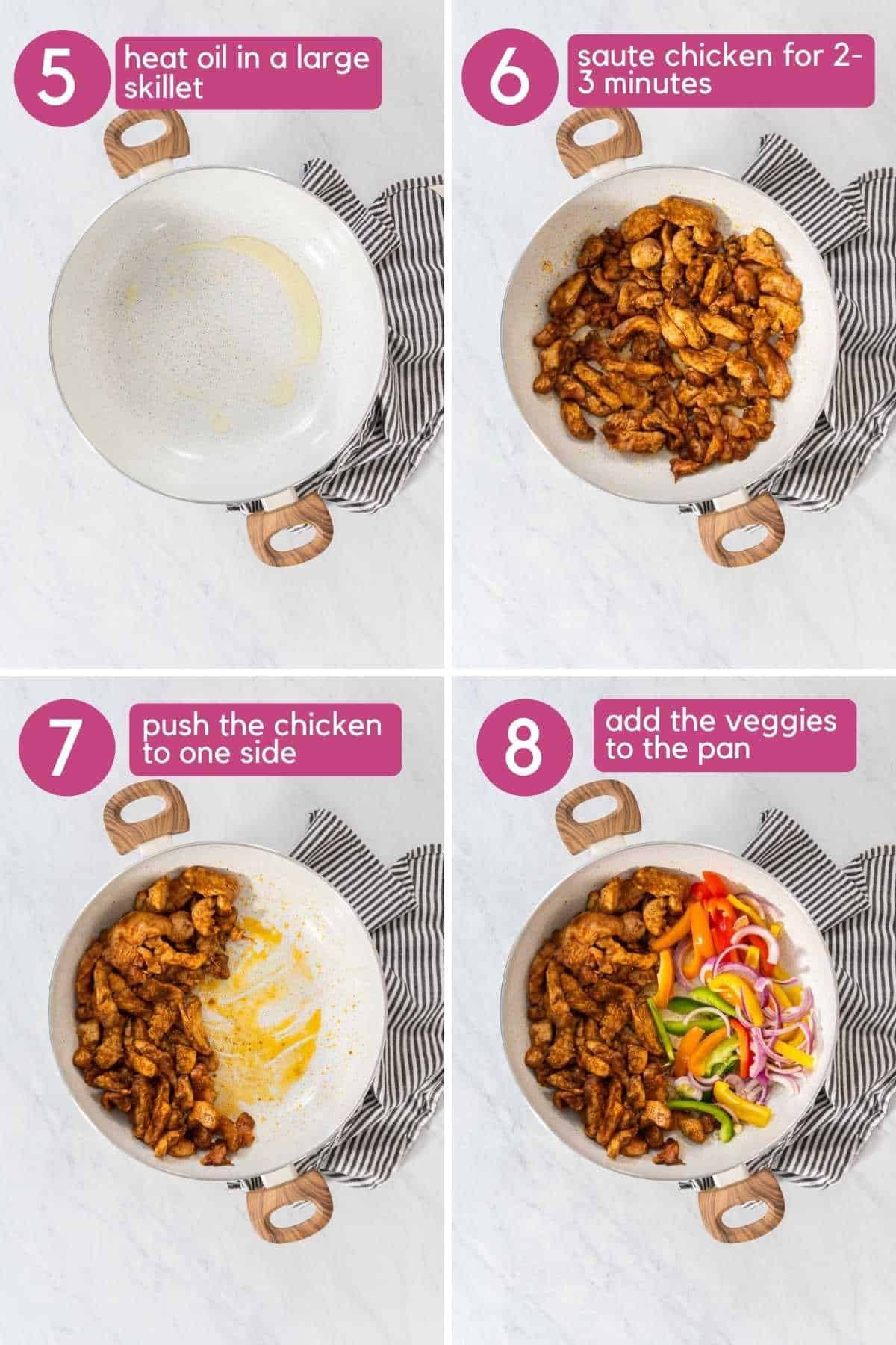 how to cook chicken and peppersfor chicken fajita tacos.