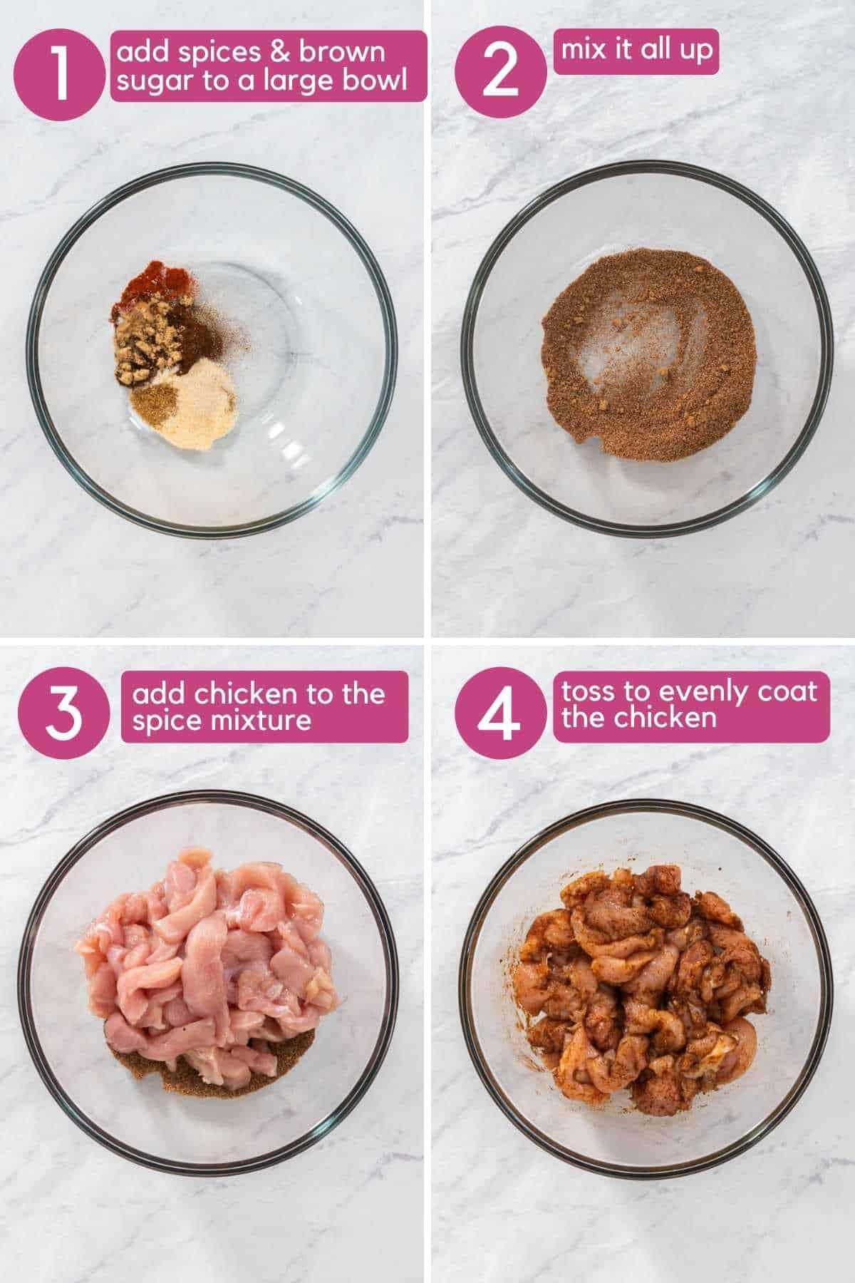 how to season chicken for chicken fajita tacos.