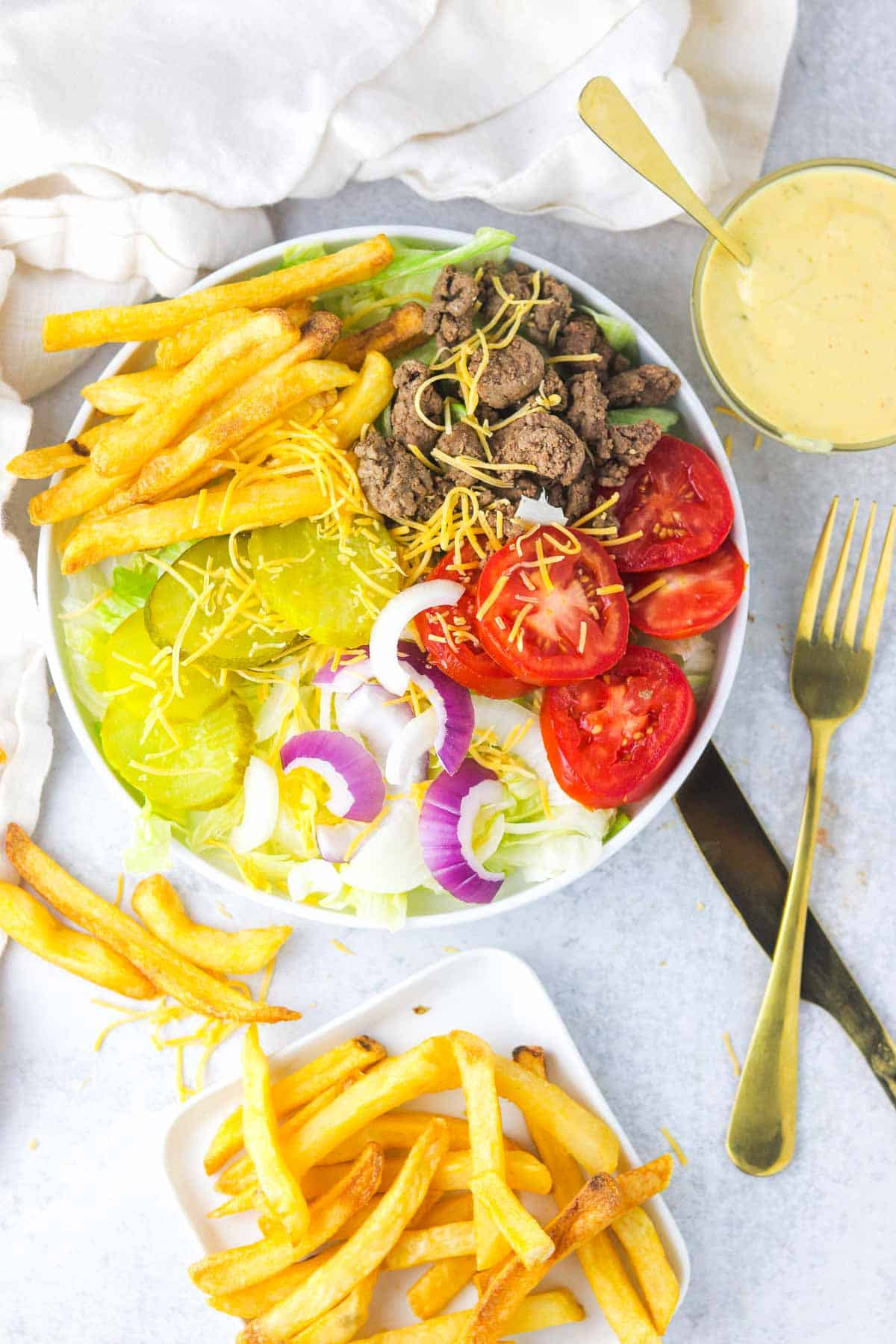 Big Mac In a Bowl hamburger salad without dressing added.