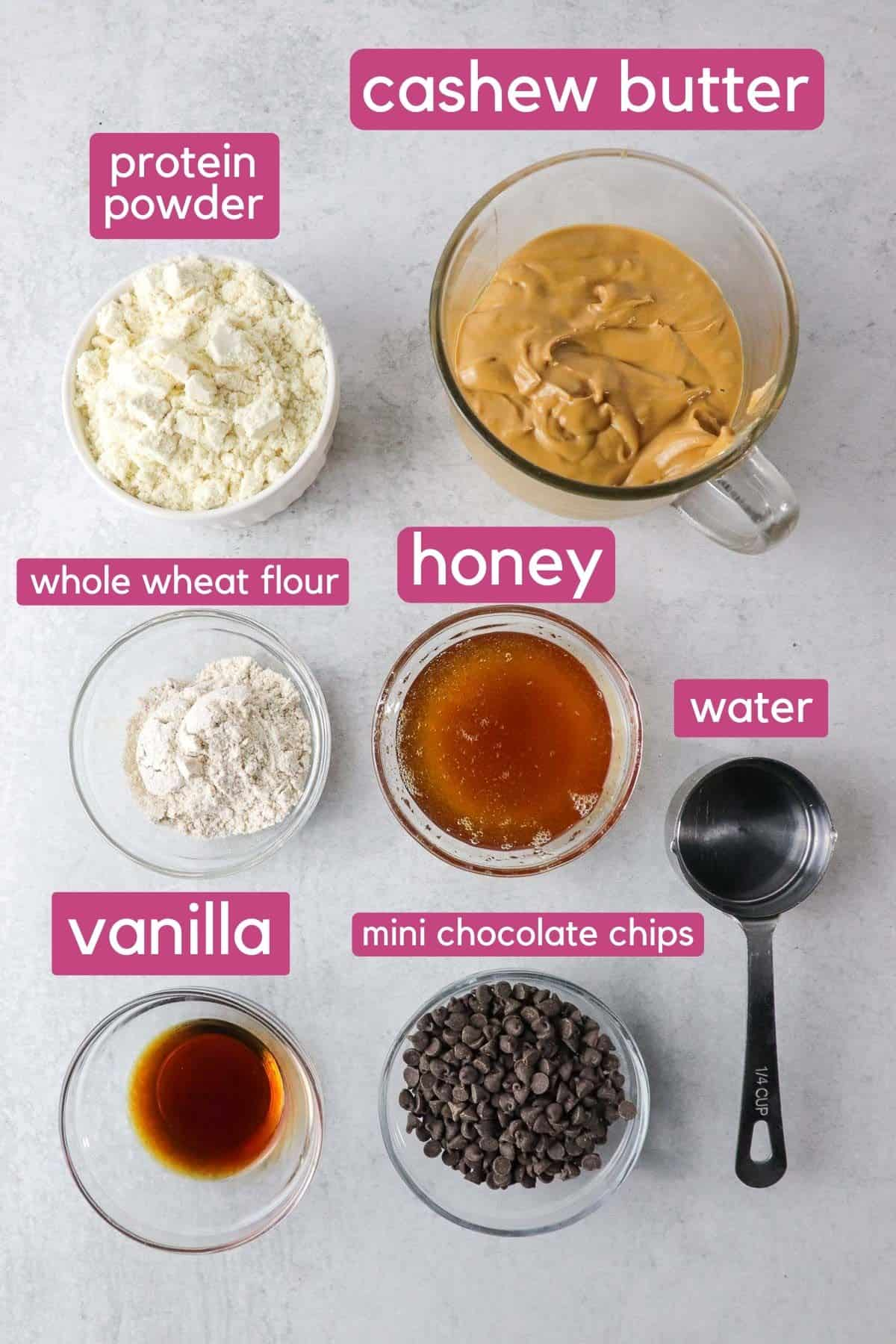 Cookie dough protein bar ingredients.