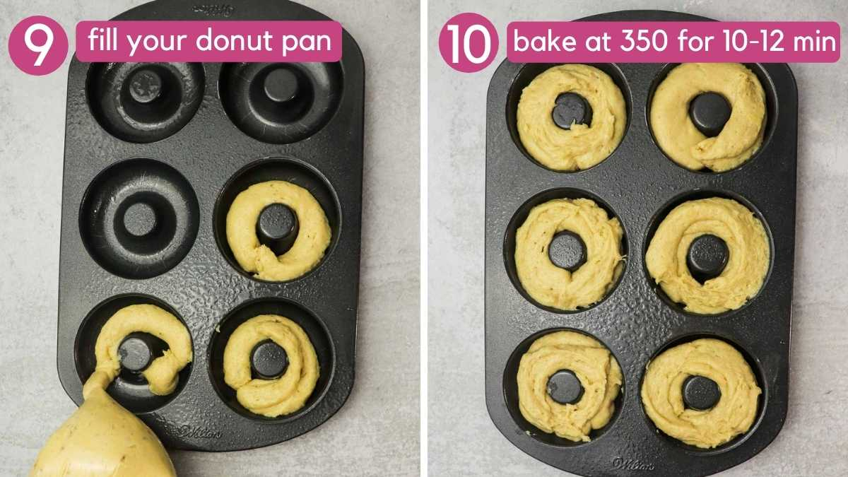 How to fill a donut pan for banana donuts.