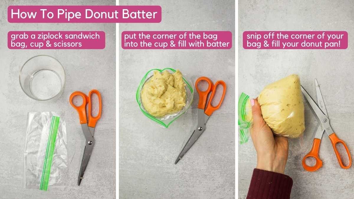 How to pipe batter for banana baked donuts.