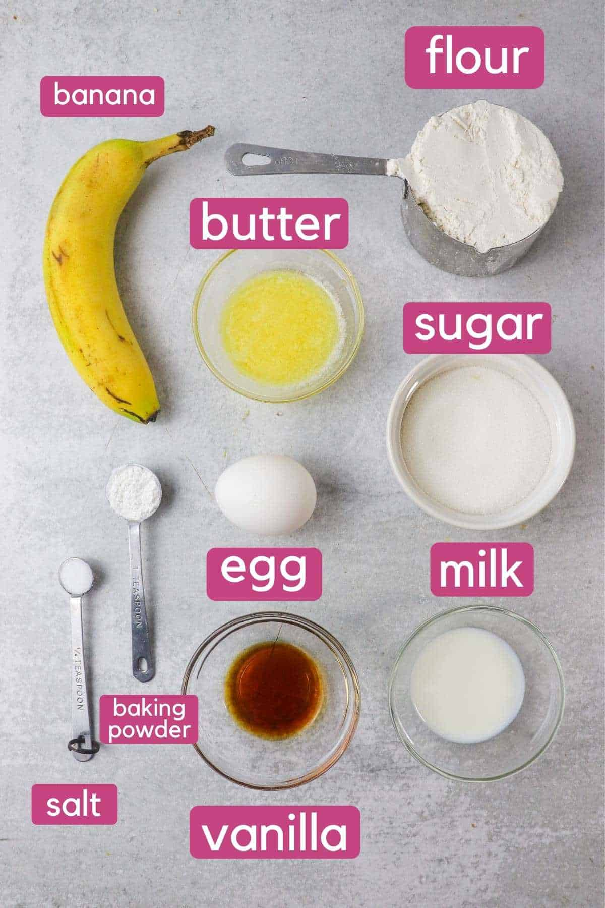 Ingredients for Banana Baked Donuts.