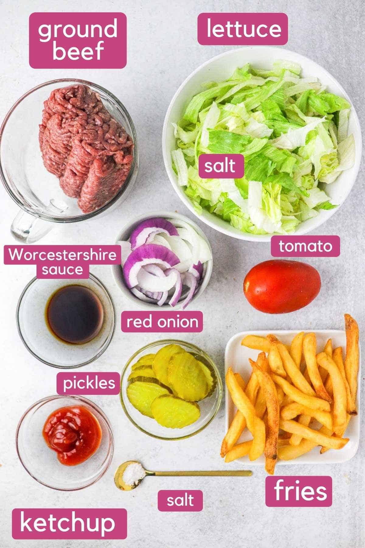 Ingredients for big mac salad.