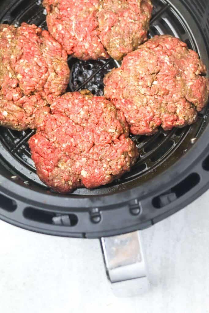 uncooked juicy air fryer burger patties