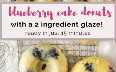 blueberry cake donuts with glaze.
