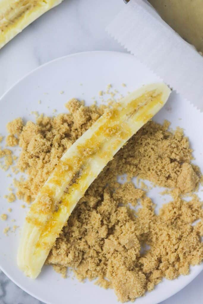 sliced banana for dairy free banana bread loaf