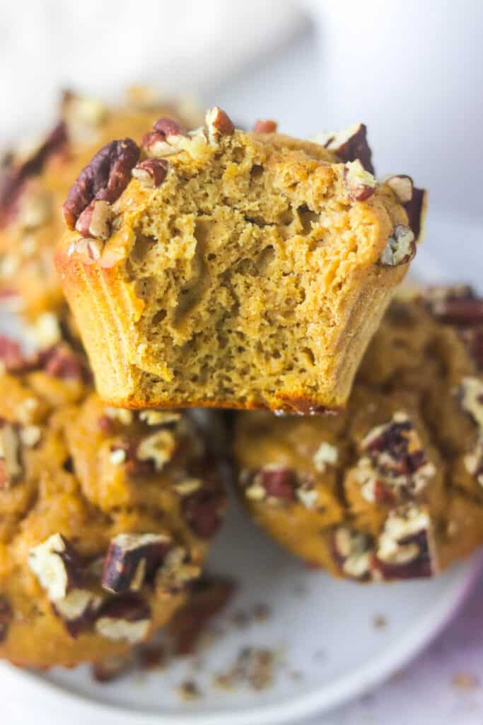 easy pumpkin protein muffin close up