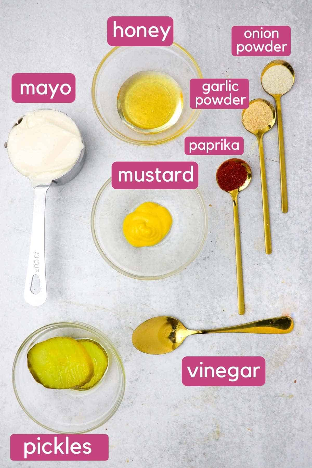 ingredients for big mac in a bowl dressing.