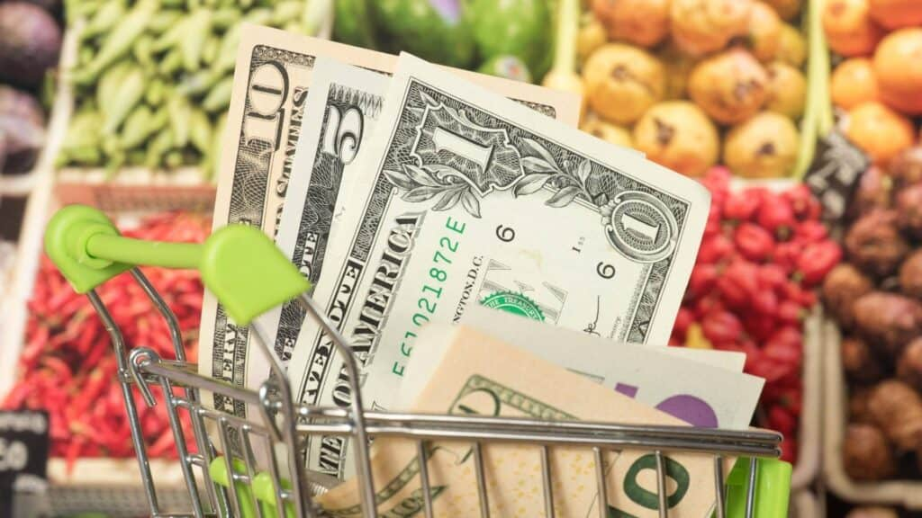 Money coming out of a cart due to budget meal planning
