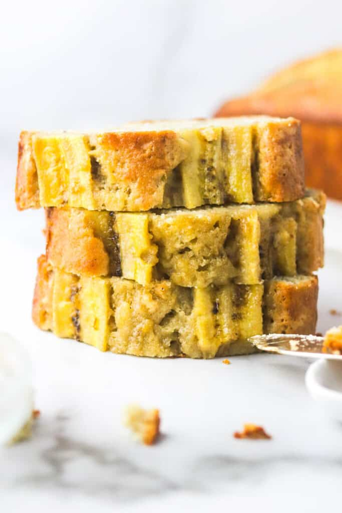 stacked dairy free banana bread loaf