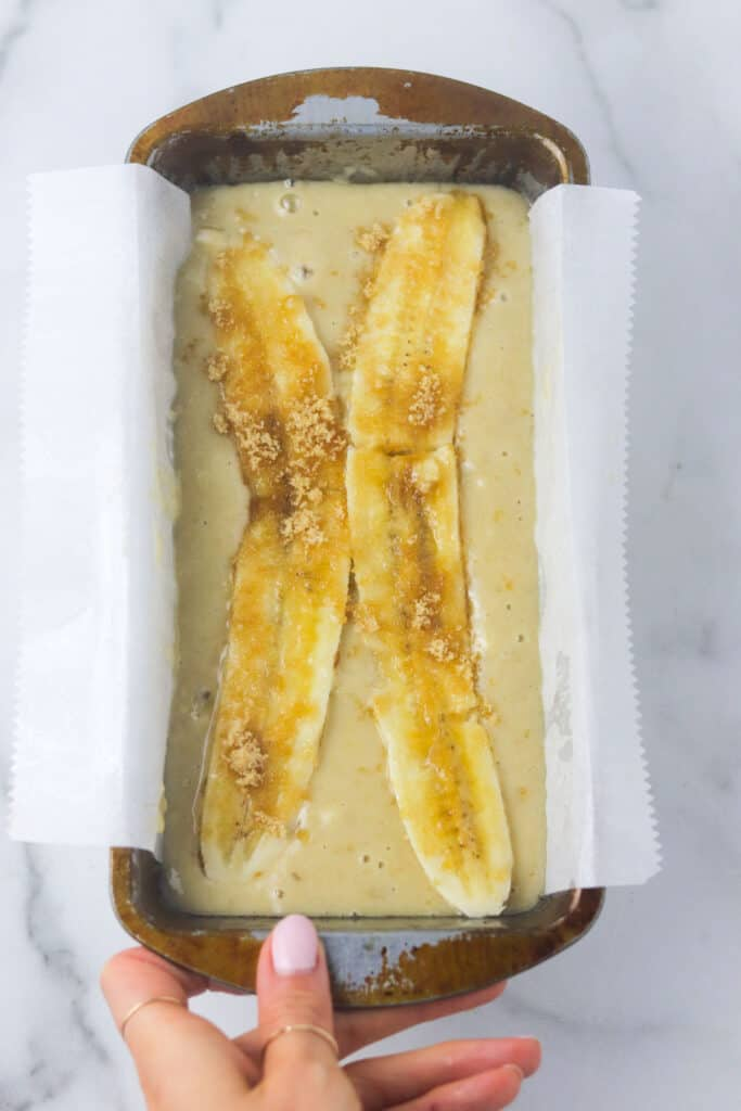 dairy free banana bread loaf unbaked
