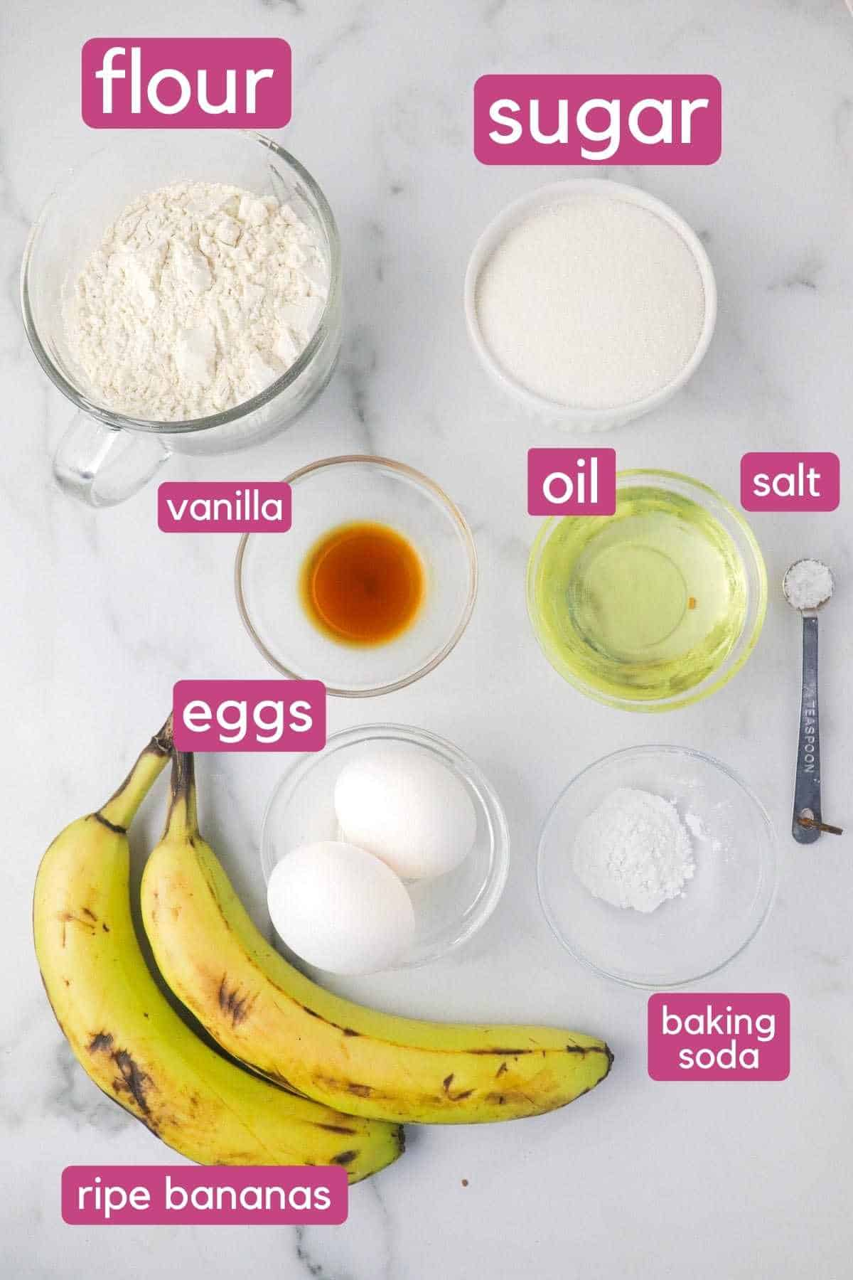 Dairy Free Banana Bread Ingredients Labeled.