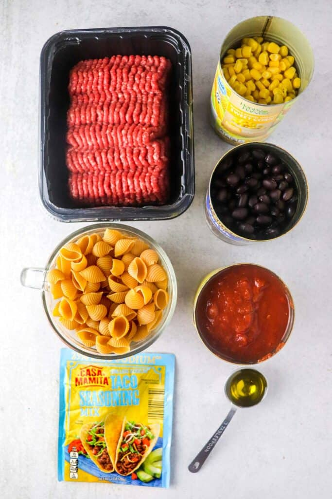 ingredients for instant pot taco pasta