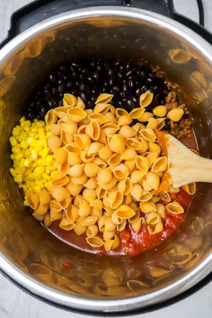 instant pot taco pasta ingredients in the instant pot