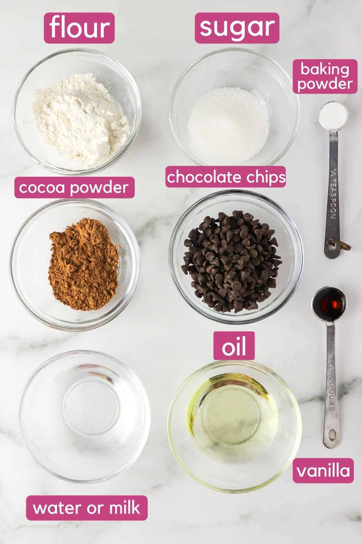 Vegan mug brownie ingredients.
