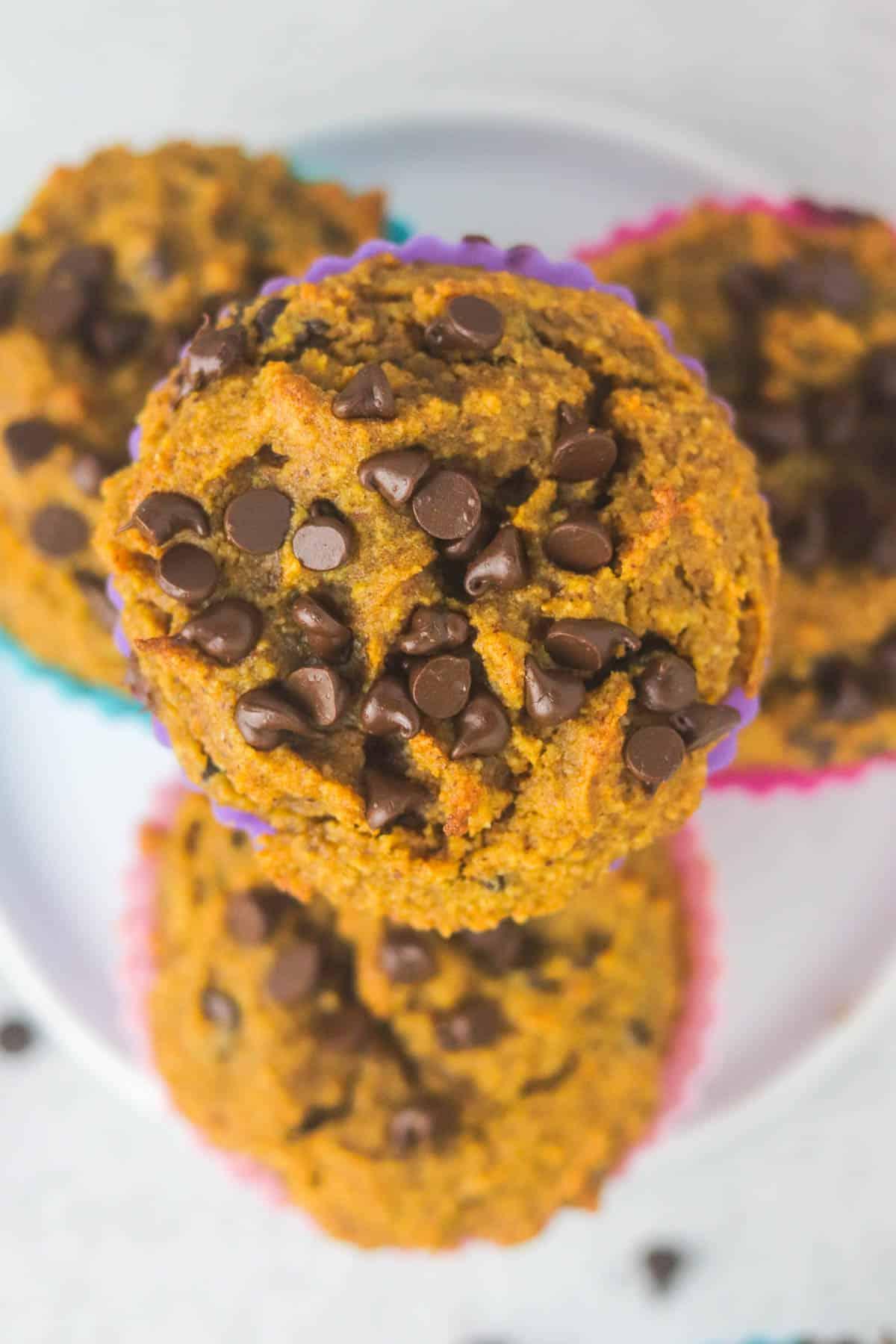 top of gluten free pumpkin muffins up close.