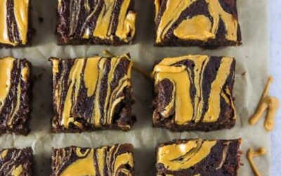 banana bread brownies with a peanut butter swirl