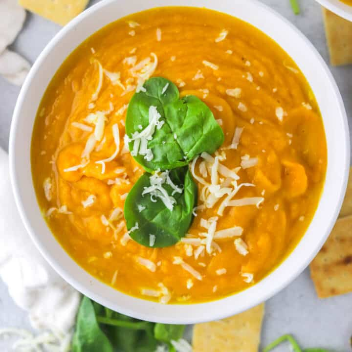 sweet potato and pumpkin soup in bowl