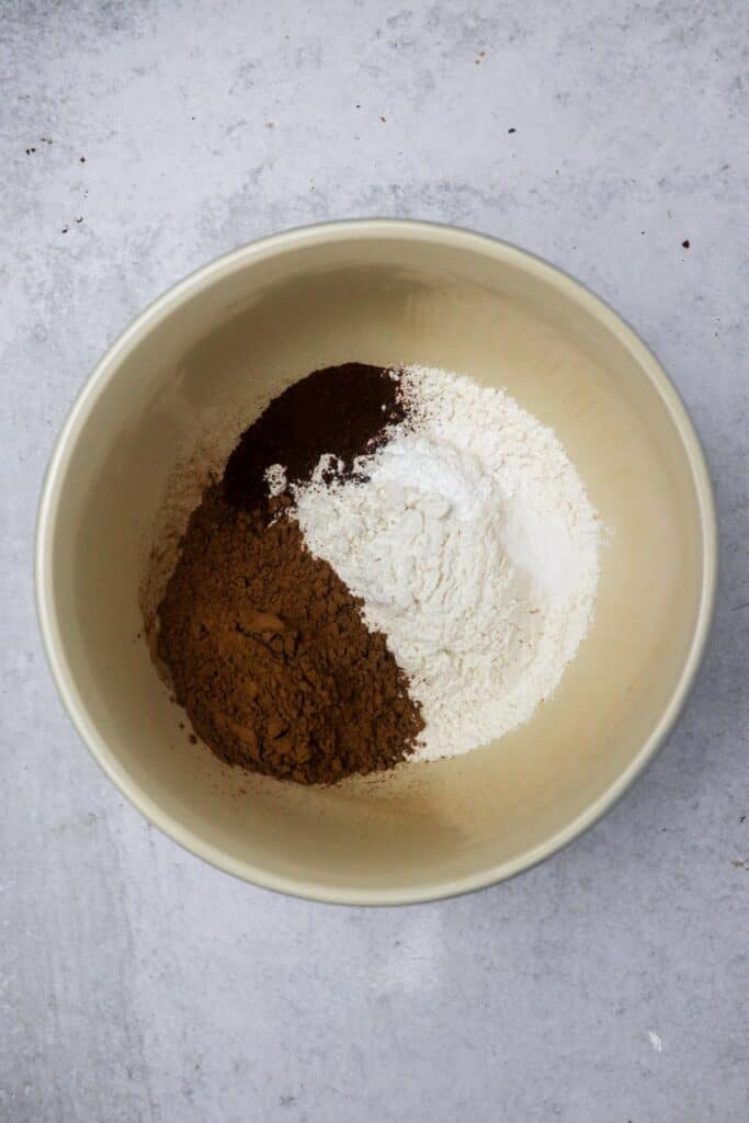 dry ingredients for peanut butter banana brownies