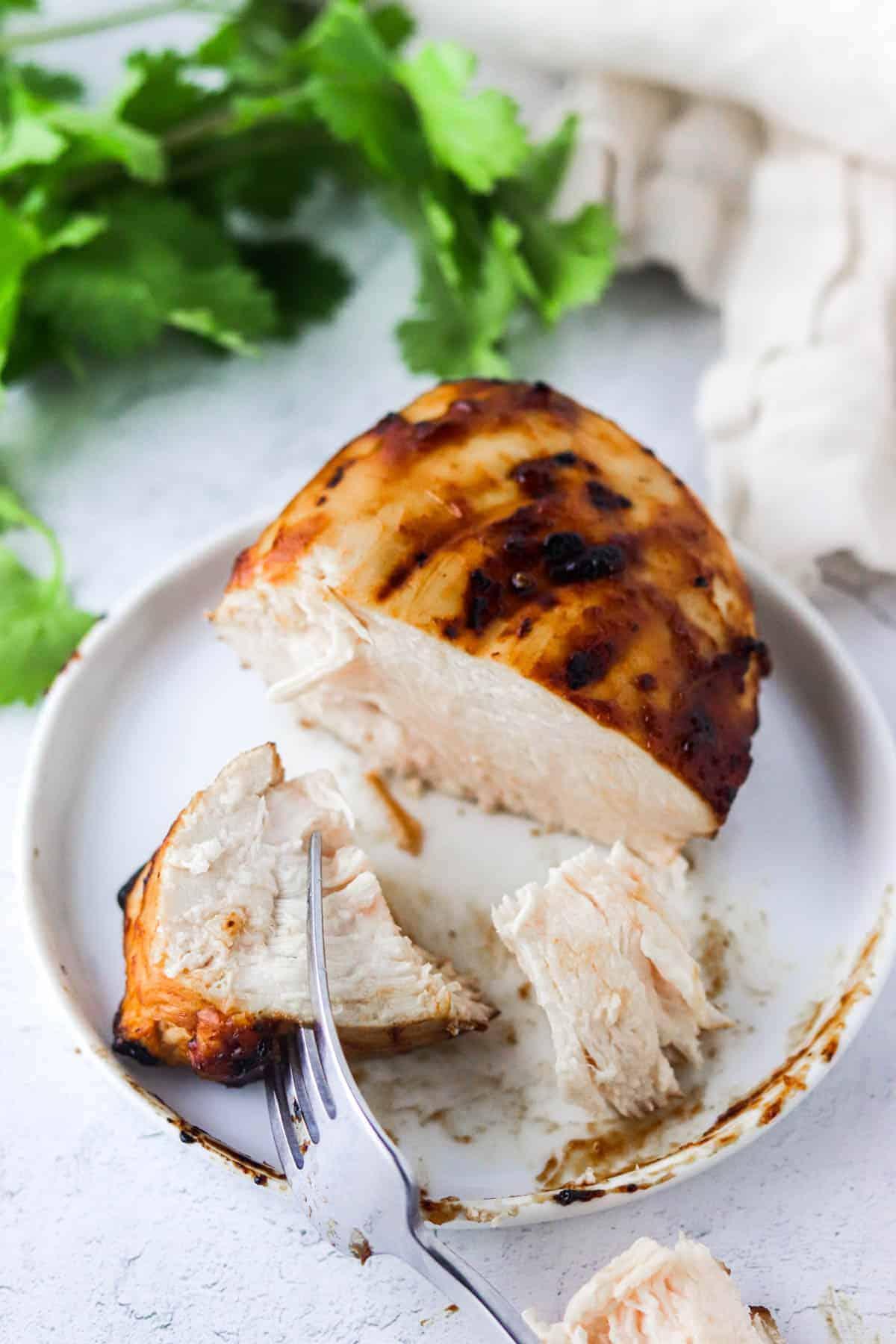eating air fryer bbq chicken