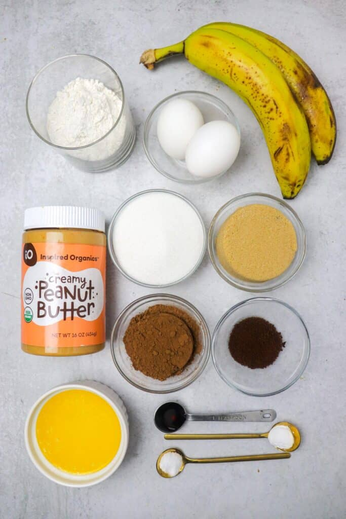 ingredients for peanut butter banana brownies