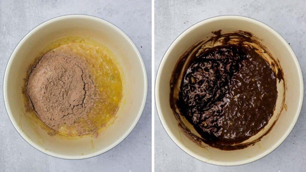 mixing peanut butter banana brownies
