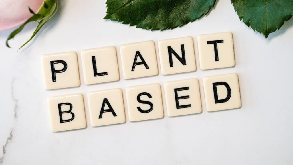 plant based diet spelled with tiles
