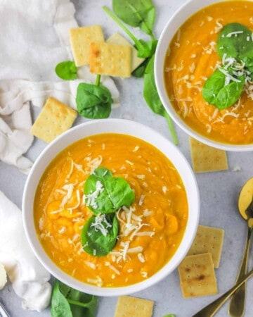 two bowl of sweet potato pumpkin soup