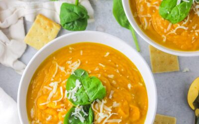 two bowl of sweet potato pumpkin soup