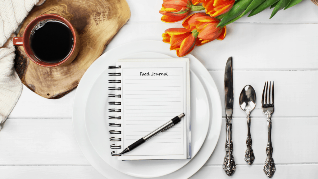 intuitive eating food journal with flour