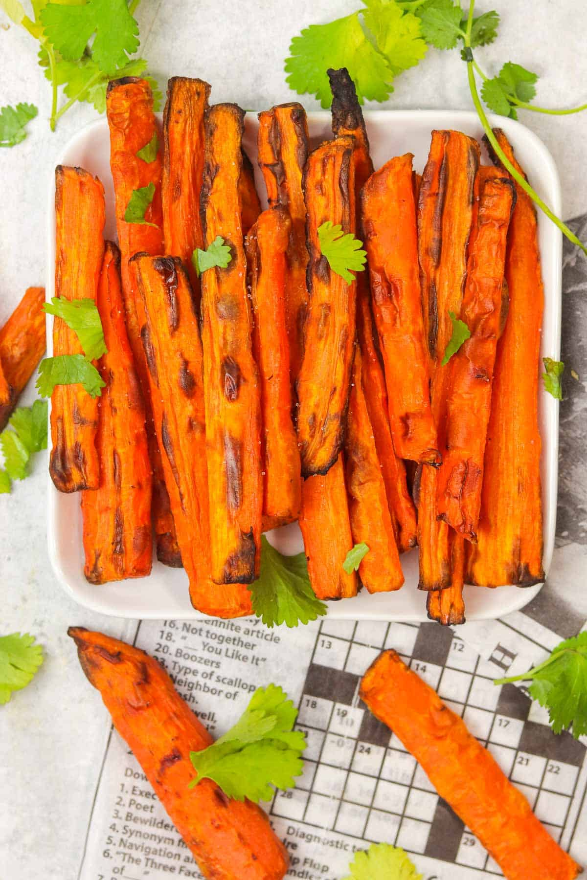 plate of air fryer carrots.