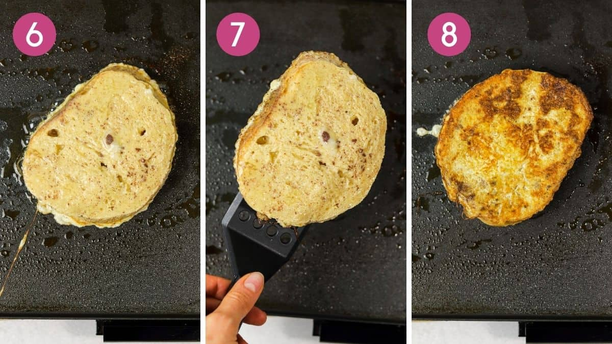Cooking sourdough french toast on a griddle flipping to cook on both sides.